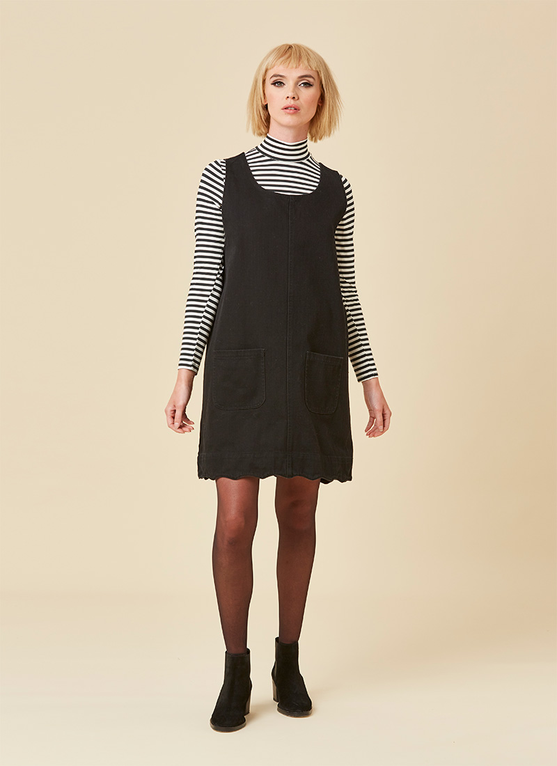 Jennifer Scallop Edge Pinafore Dress - Black