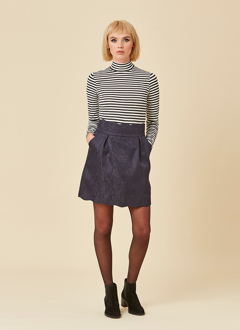 Suzy Scallop Mini Skirt - Navy