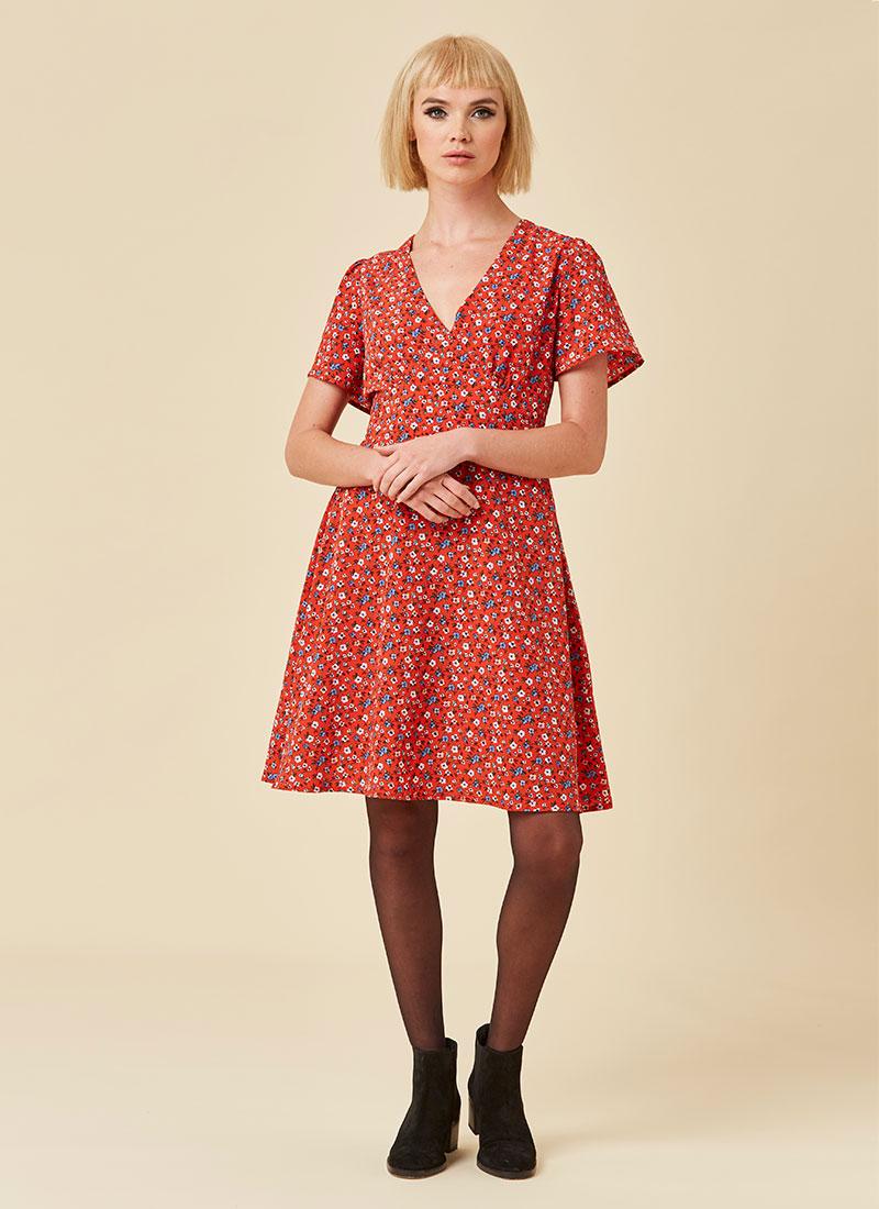 Serena Ditsy Floral Print Dress Full Front