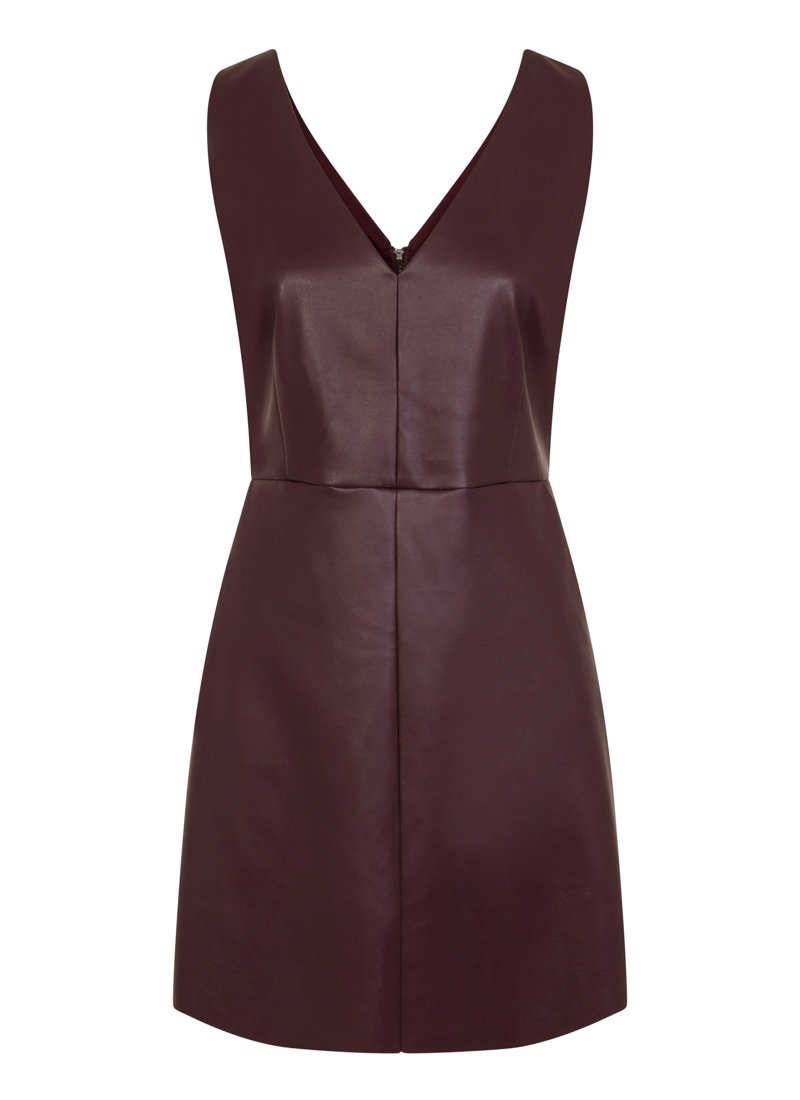 Soho Leather-Look Pinafore Dress Plum Product Front