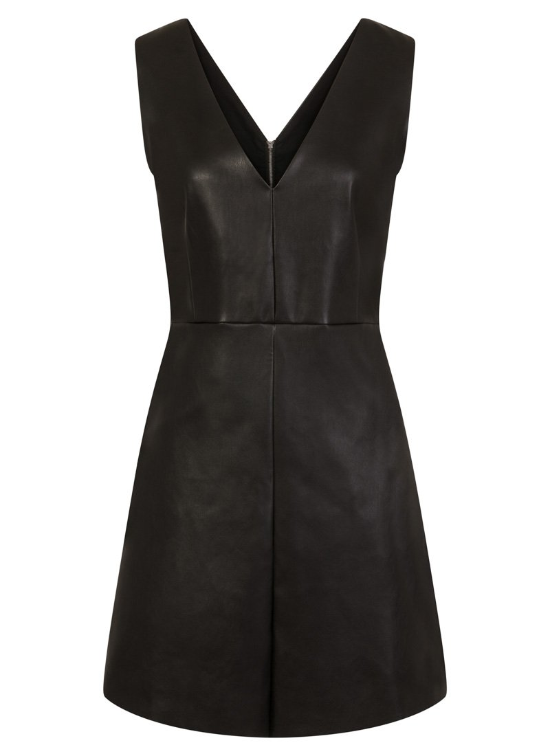 Soho Leather-Look Pinafore Dress Black Product Front
