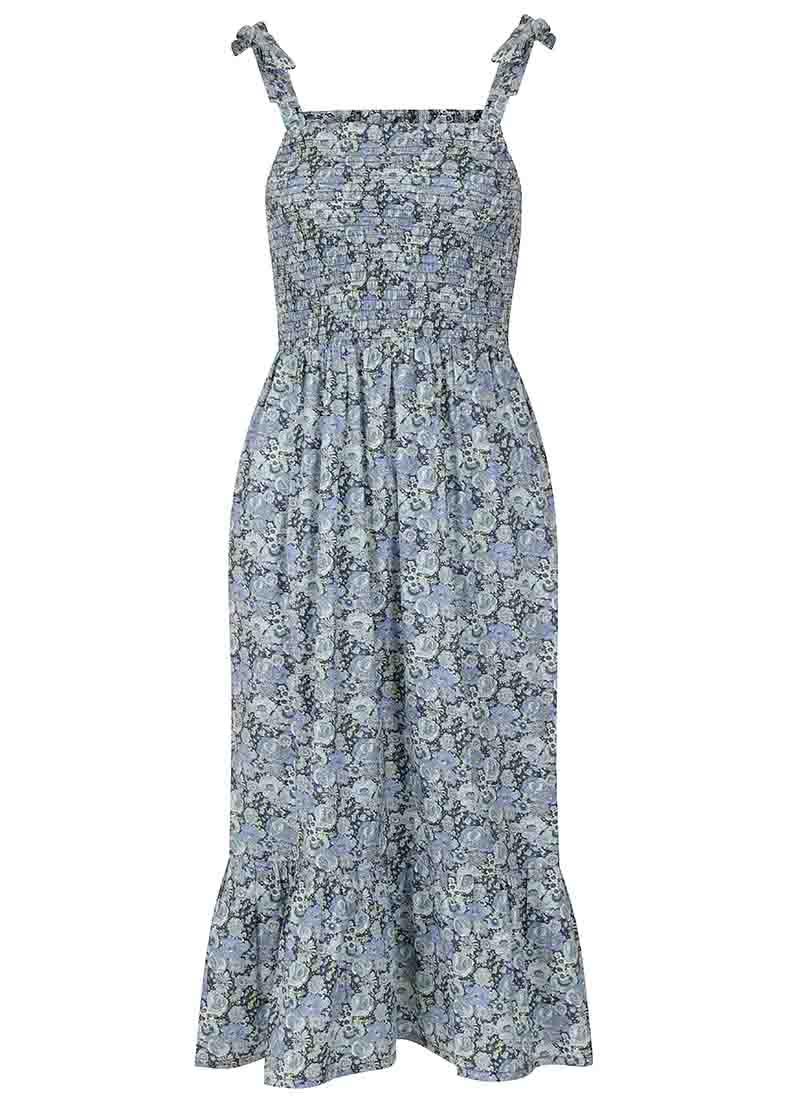Starkey Blue Floral Smocked Cotton Sundress Product Front