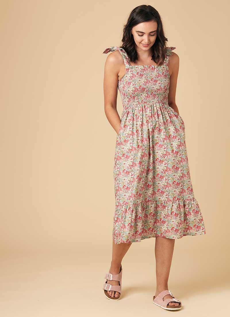 Starkey Pink Floral Smocked Cotton Sundress Model Front