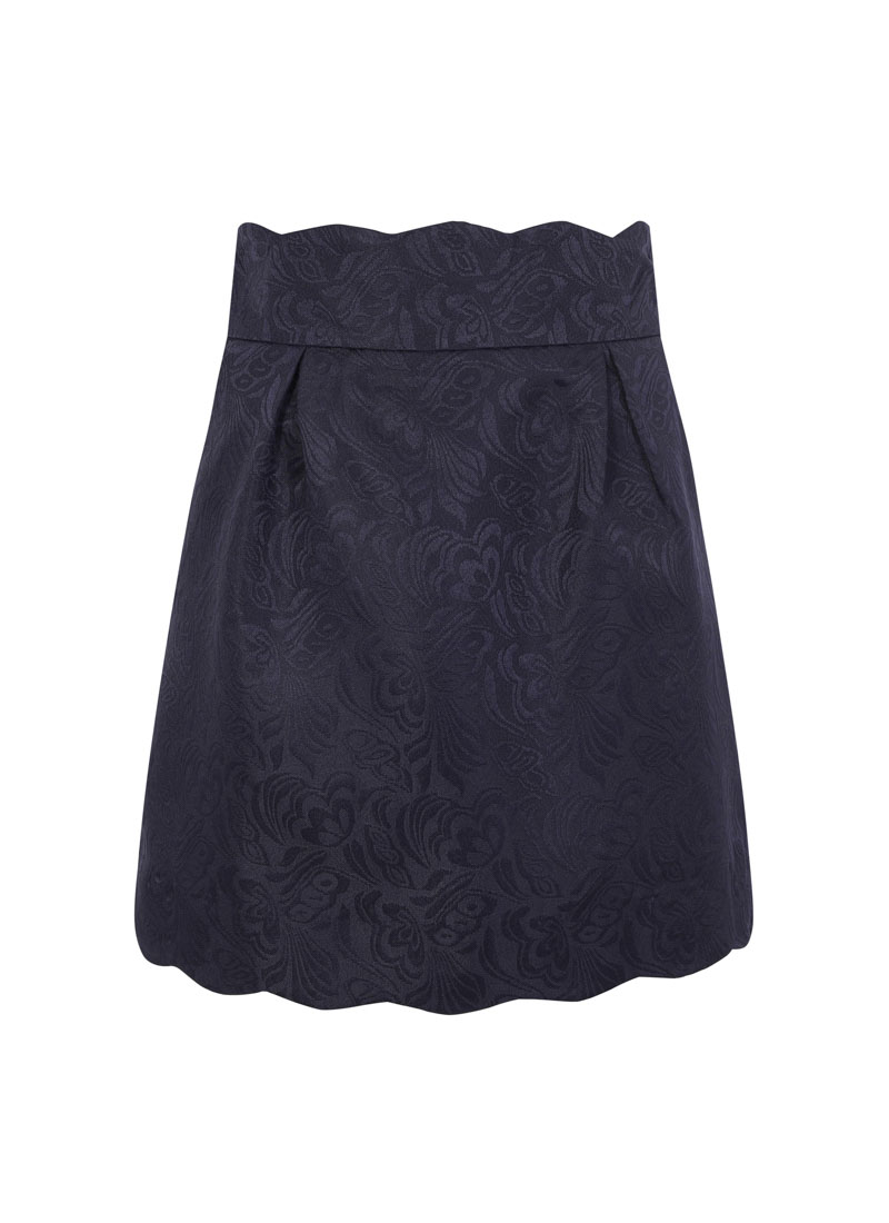 Suzy Navy Scallop Skirt Pockets Product Front
