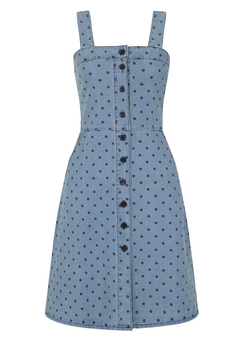 Tamara Polka Dot Strappy Pinafore Denim Dress Product Front