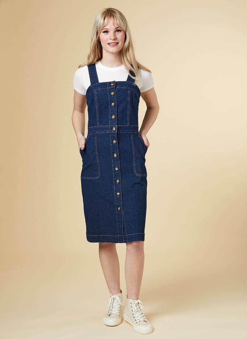 Tara Button Denim Pinafore Dress Model T-Shirt