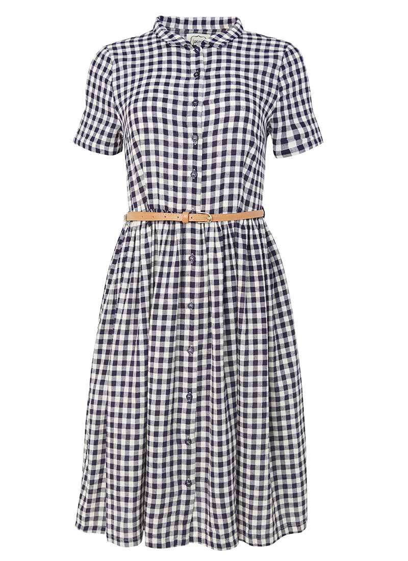 Thelma Gingham Shirt Dress - Navy