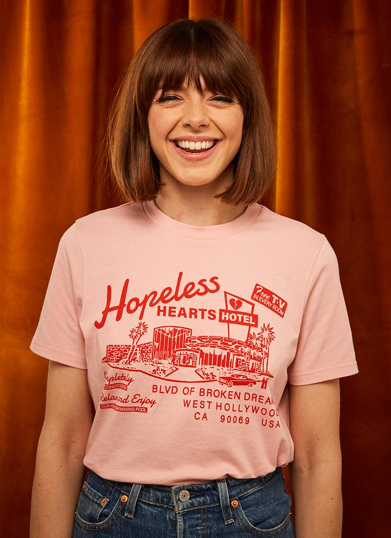 Joanie X Sophia Rosemary Thorlby Hopeless Hearts Hotel Tee Model