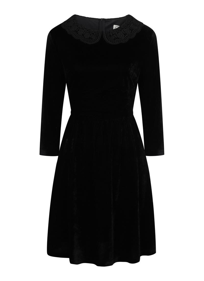 Thursday Black Velvet Crochet Collar Skater Dress Product Front