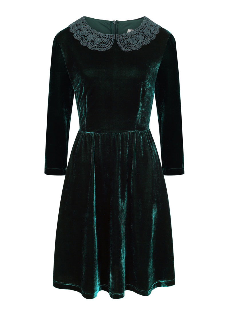 Thursday Crochet Collar Velvet Dress - Green