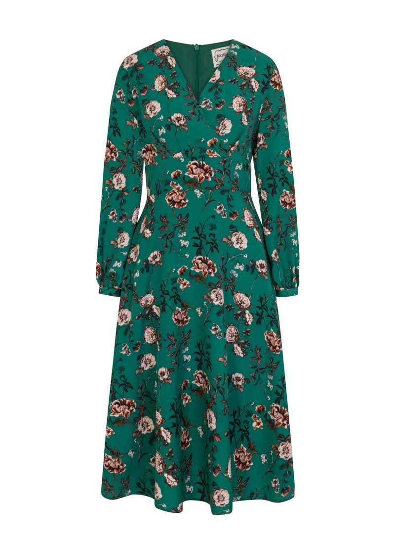 Tiggy Green Floral Print Long Sleeve Midi Dress Product Front