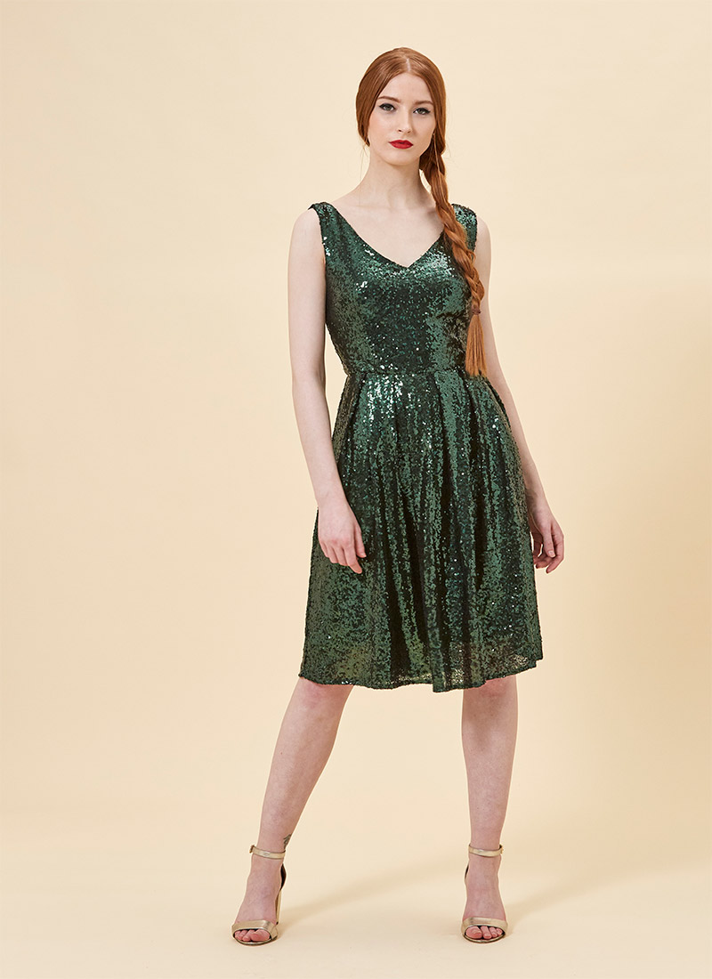 Uma Sequin Dress - Green