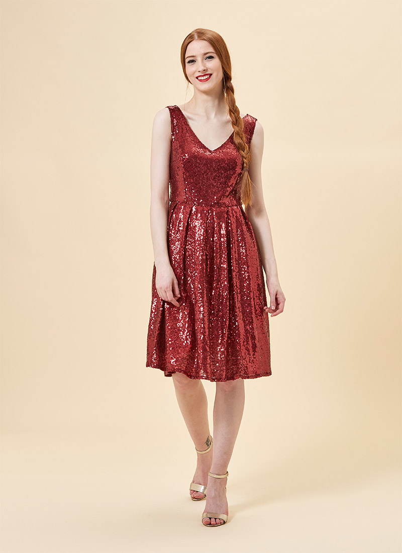 Uma Red Sequin Party Dress