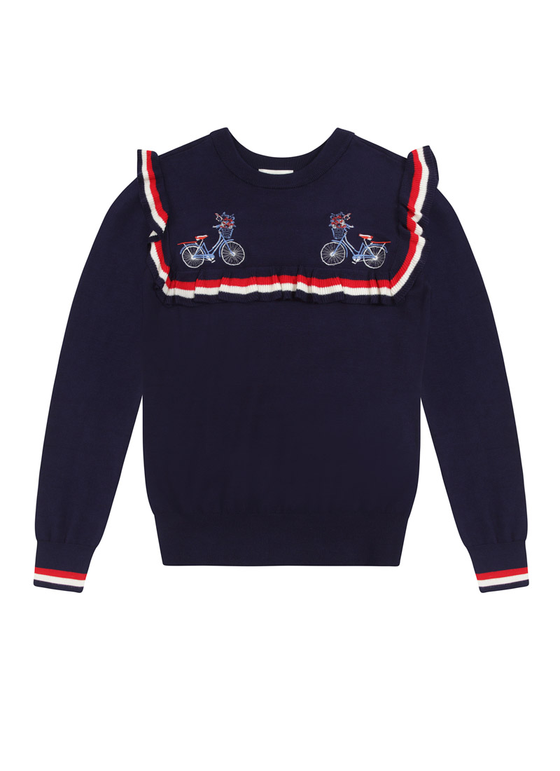 Velo Embroidered Bikes Frill Jumper Product Front