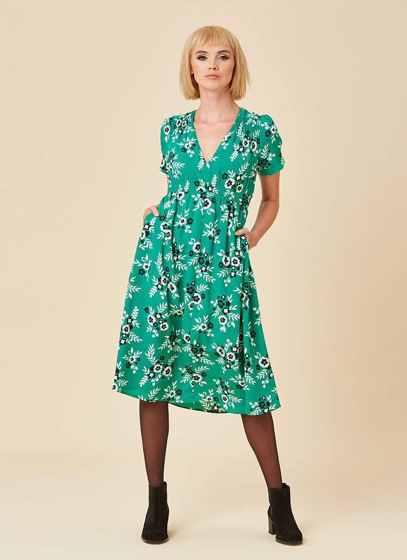Venus Green Floral Print Midi Dress
