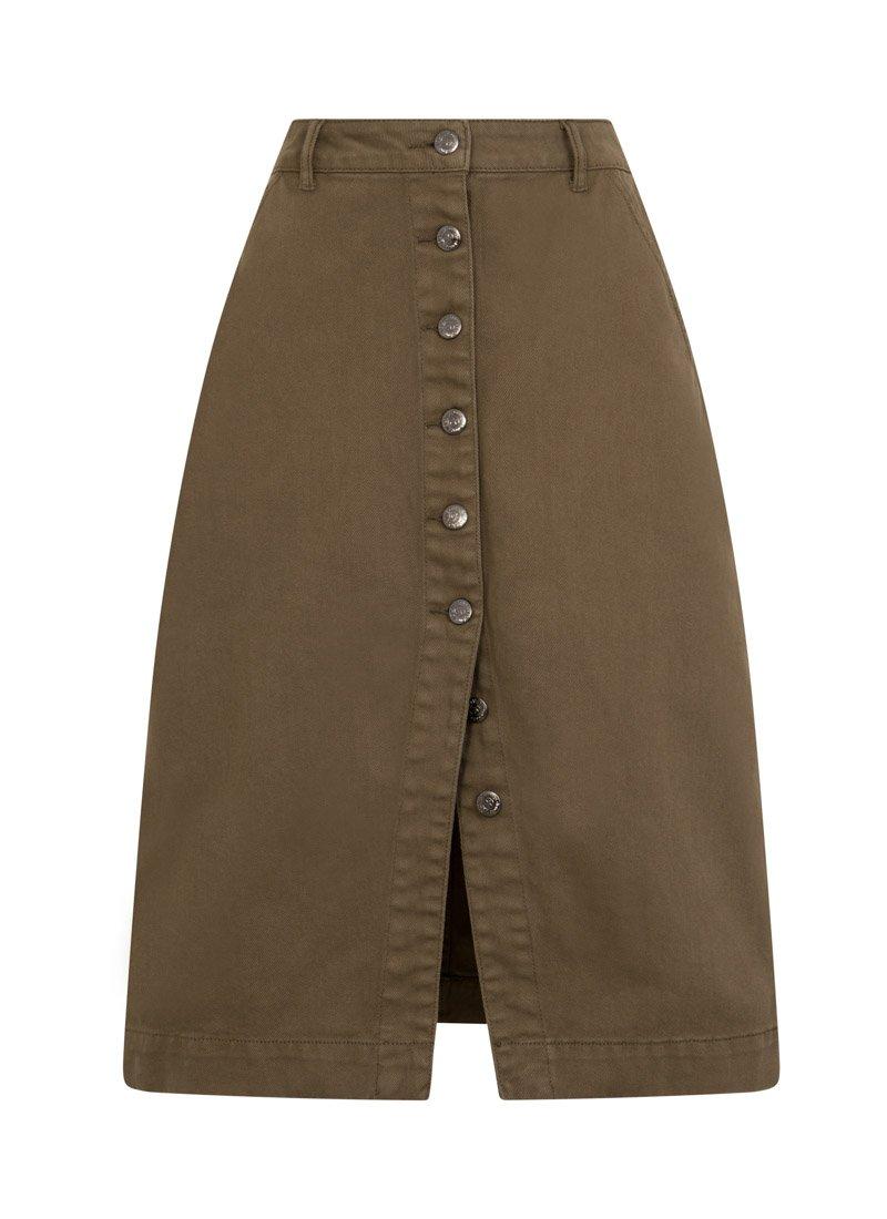 Vienna Green Button-through Split Skirt Product Front