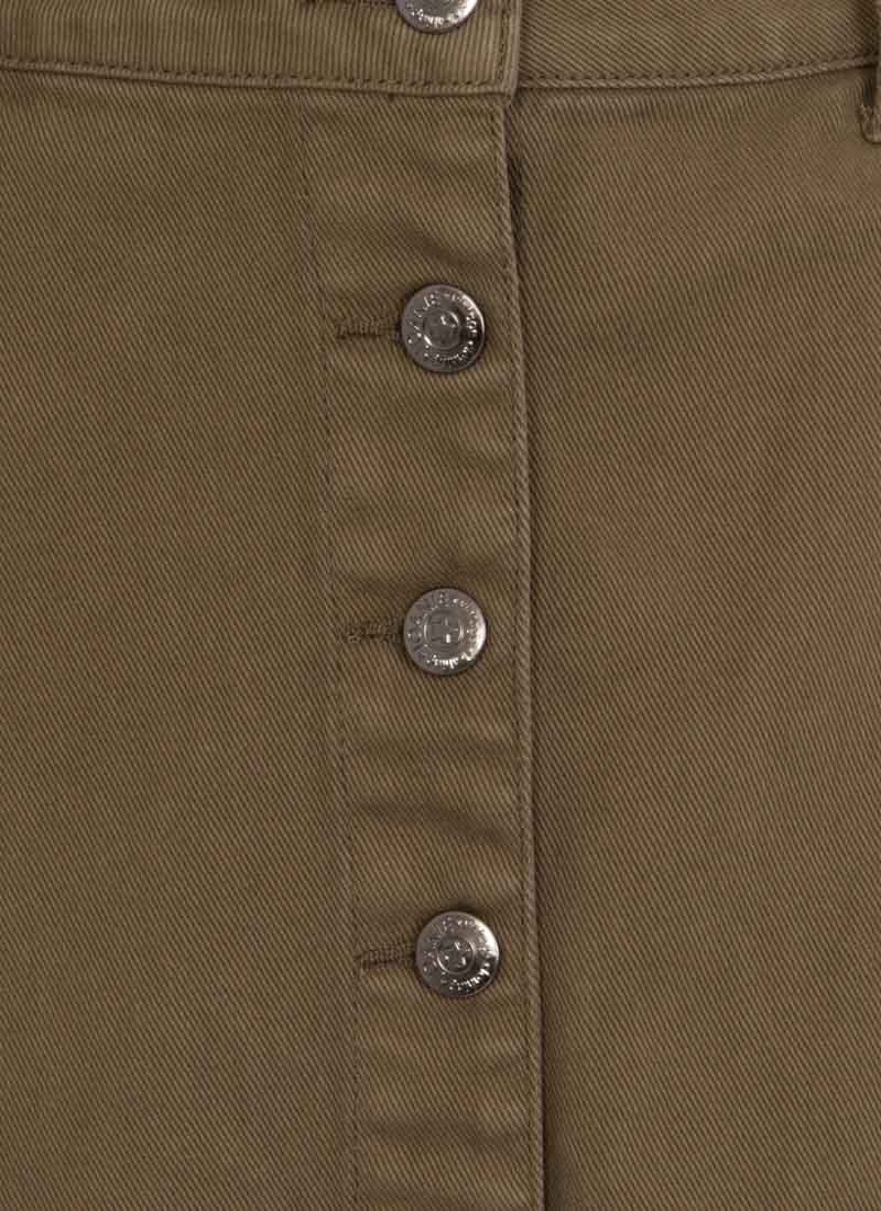 Vienna Button-through Split Skirt - Green