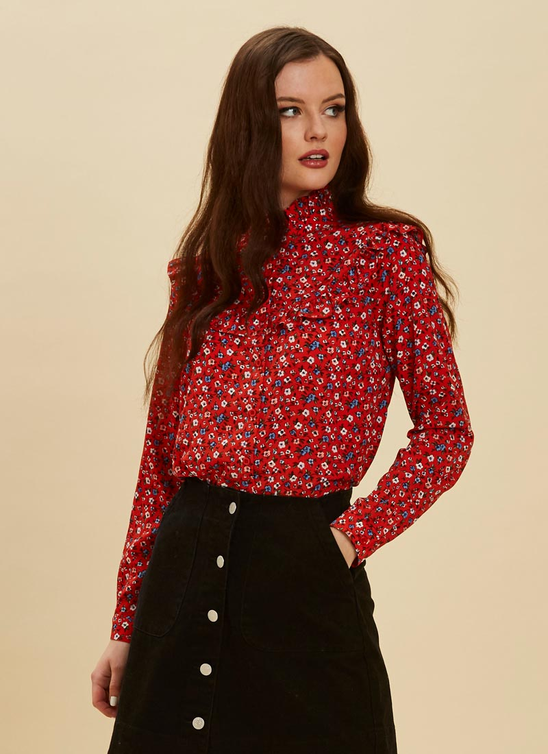 Violetta Ditsy Floral Print Blouse Close-Up