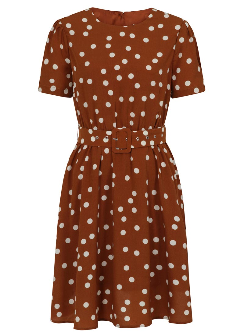 Vivian Polka Dot Belted Tea Dress Product Front