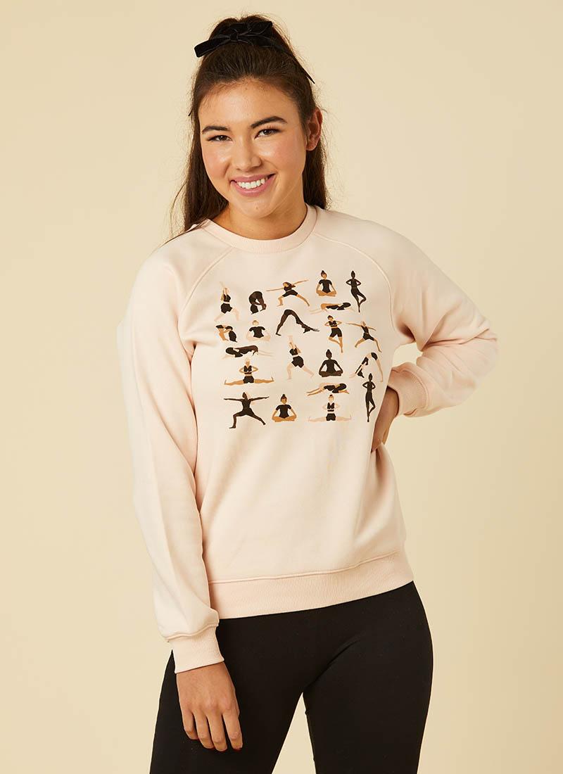 Yogi Yoga Pose Printed Sweatshirt Model Front