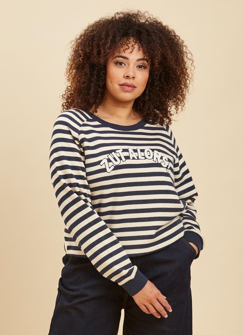 Zandra Zut Alors Slogan Sweatshirt Close-Up