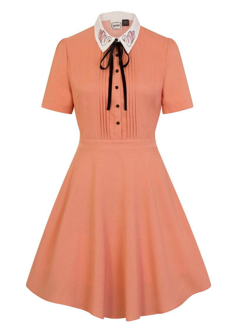 Zooey Contrast Embroidered Swan Collar Dress Product Front