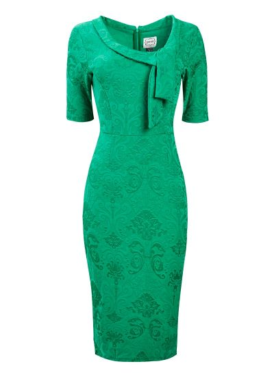 Green Pussybow Pencil Dress
