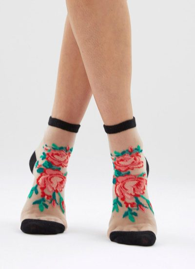 Floral Sheer Ankle Socks