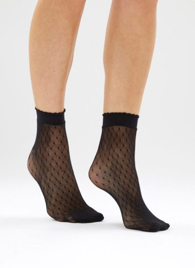 Black fishnet polka dot ankle socks with frill
