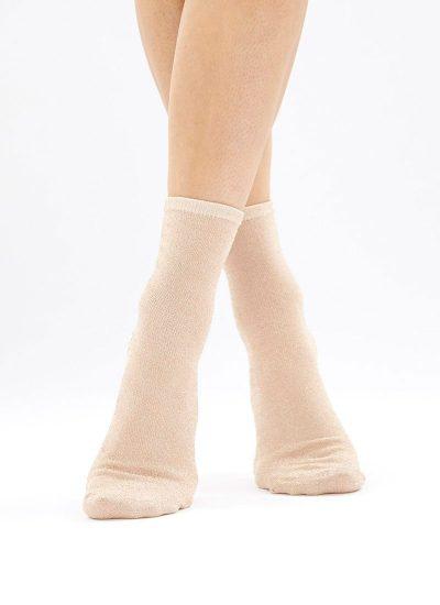 Rose gold glittery ankle socks.