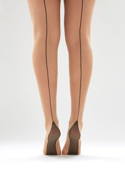 Nude opaque tights with black seam