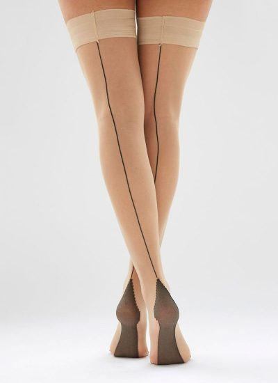 Nude hold-ups with black seam