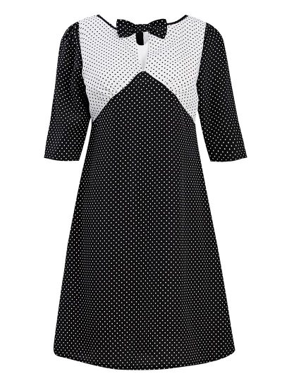 Polka Dot Shift Dress with Bow