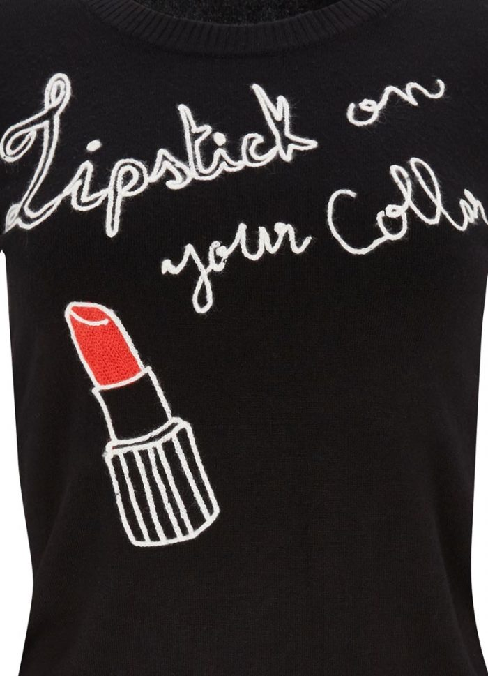 Dakota Lipstick Slogan Jumper