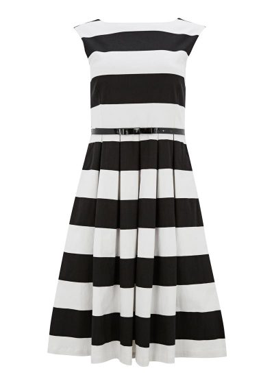 Stripe Fit and Flare Dress Monochrome