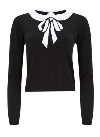 Black Jumper with White Bow Print