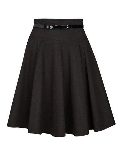 Black Full Skirt with Bow Belt