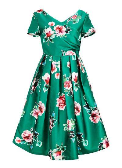 Floral Print Green Dress