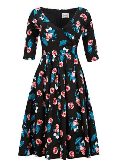 Floral Fan Print Wrap Dress