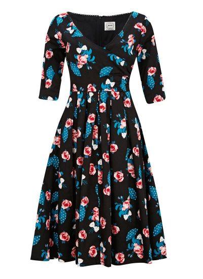 Floral Fan Print Wrap Dress