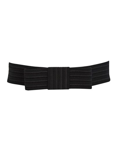 Black Elastic Bow Waist Belt