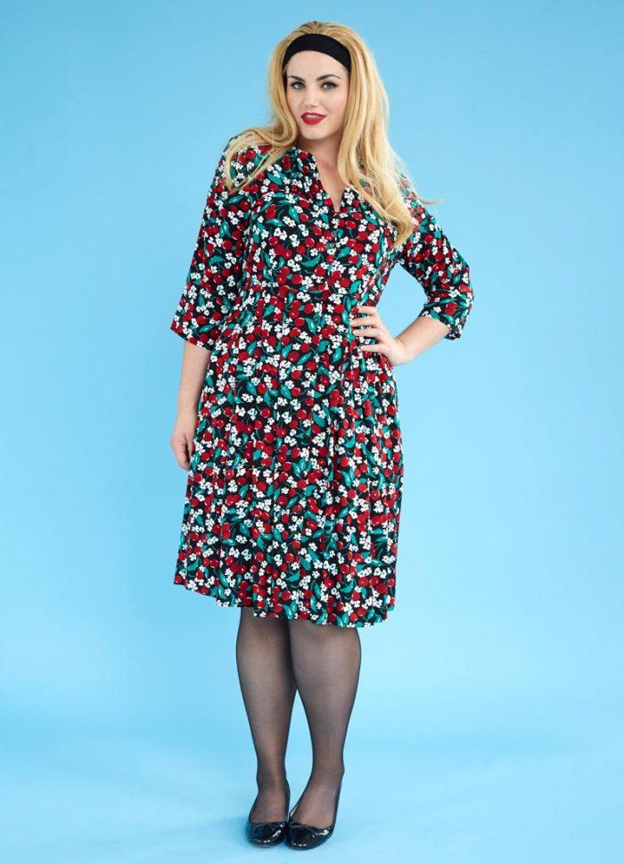 Barbara Cherry Button-through Dress