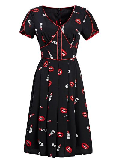 Lips Lipstick Print Black Dress
