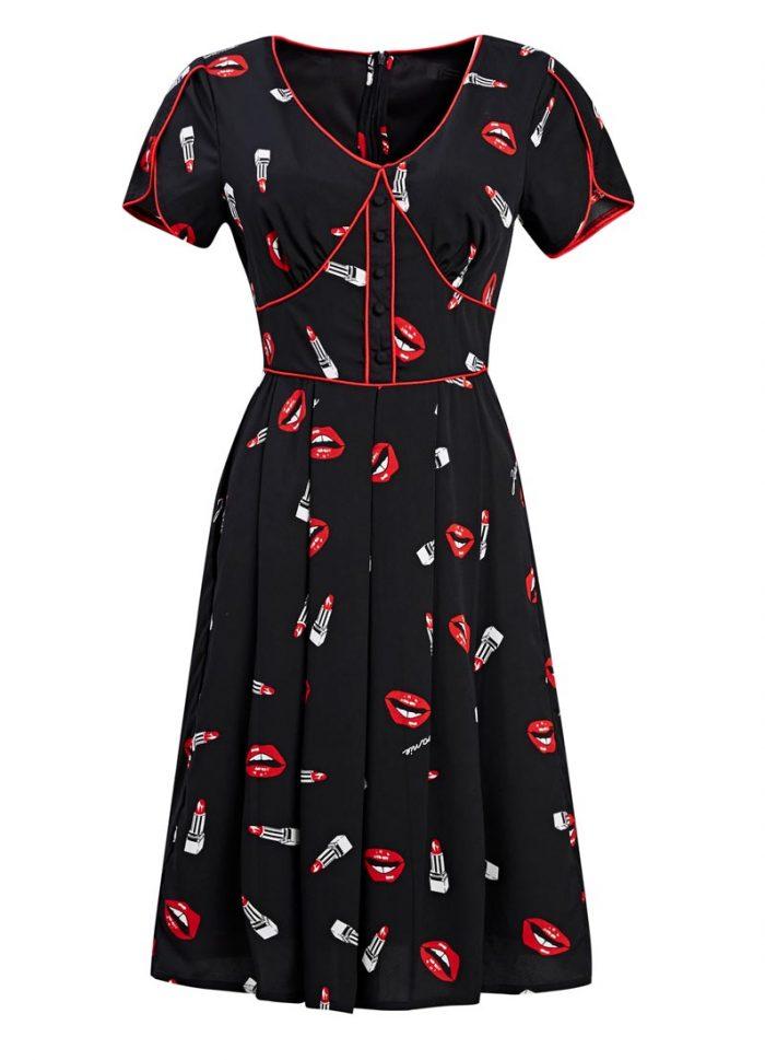Lippy Lips Print Dress