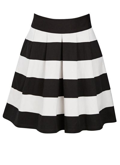 Black and White Stripe Skater Skirt