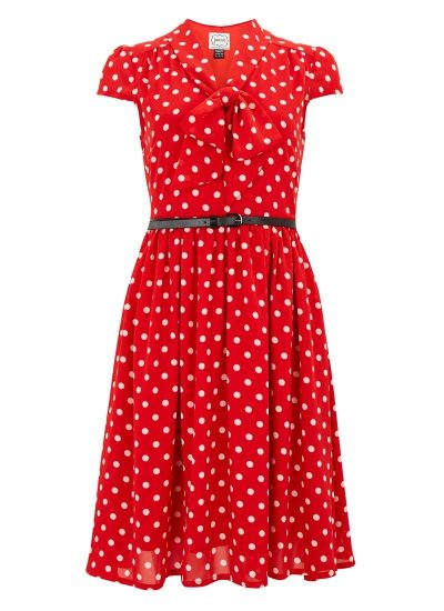 Red Polka Dot Dress With Pussybow