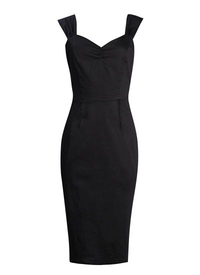 Black Wiggle Dress With Bow