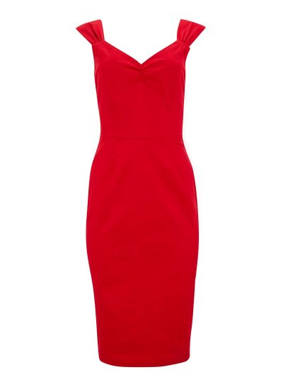 Red Wiggle Dress With Bow
