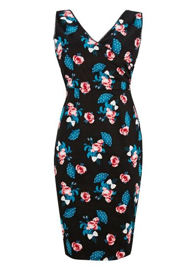 Rose Print Black Dress