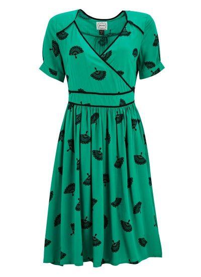 Green Fan Print Wrap Dress